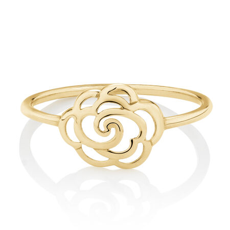 Rose Ring in 10ct Yellow Gold