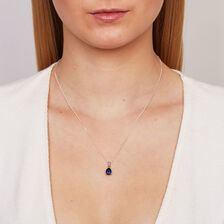 Pendant with Created Sapphire & Diamonds in 10ct White Gold