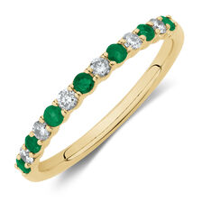 Stacker Ring with Natural Emerald & 0.15 Carat TW of Diamonds in 10ct Yellow Gold
