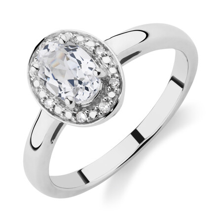 Halo Ring with Created White Sapphire & Diamonds in Sterling Silver