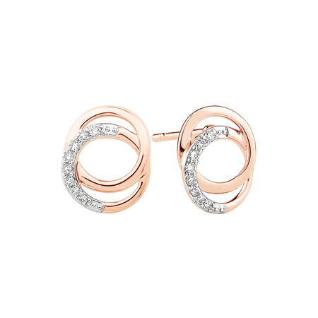 Circle Stud Earrings With 0.10 Carat TW of Diamonds In 10ct Rose Gold