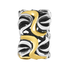 10ct Yellow Gold & Sterling Silver Swirl Pattern Charm