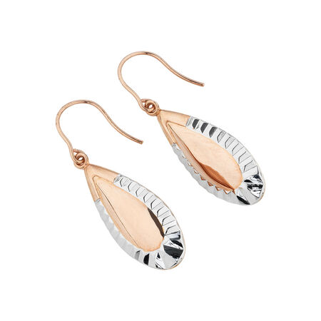 Online Exclusive - Patterned Drop Earrings in 10ct Rose & White Gold