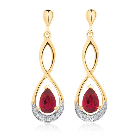 Online Exclusive - Drop Earrings with Created Ruby & Diamonds in 10ct White Gold