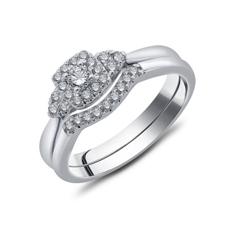 Bridal Set with 0.30 Carat TW of Diamonds in 10ct White Gold