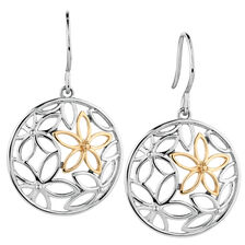 Online Exclusive - Flower Drop Earrings in 10ct Yellow Gold & Sterling Silver