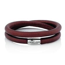 """38cm (15"""") Wild Hearts Charm Bracelet in Maroon Leather & Stainless Steel"""