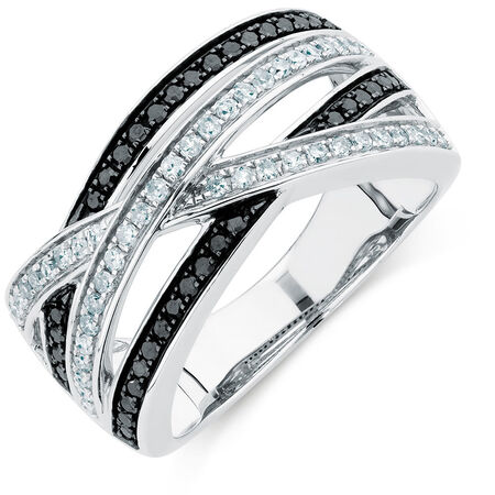 Ring with 1/2 Carat TW of White &  Enhanced Black Diamonds in Sterling Silver