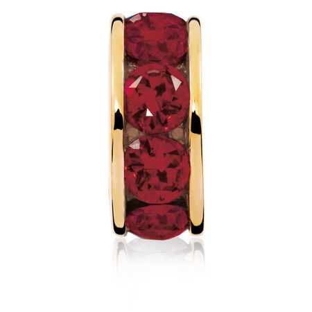 Created Ruby & 10ct Yellow Gold July Charm