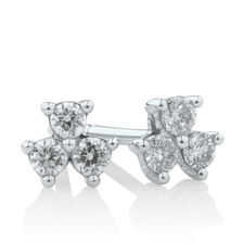 Stud Earrings with 0.15 Carat TW of Diamonds in 10ct White Gold
