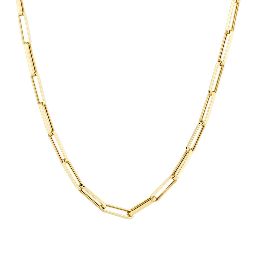 60cm Hollow Rectangle Link Chain in 10ct Yellow Gold