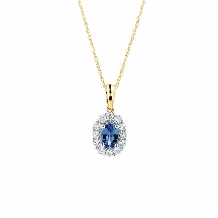 Pendant with Tanzanite & 1/3 Carat TW of Diamonds in 10ct Yellow & White Gold