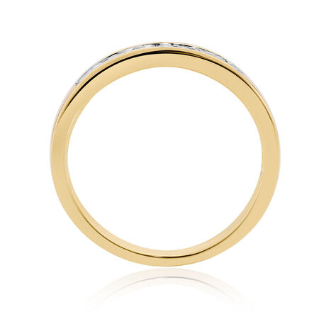 Wedding Band with 0.15 Carat TW of Diamonds in 10ct Yellow Gold