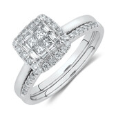 Evermore Bridal Set with 1/2 Carat TW of Diamonds in 10ct White Gold