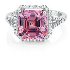 Ring with Pink & White Cubic Zirconias in Sterling Silver