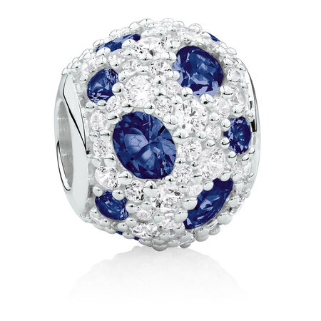 Charm with Blue Crystal & Cubic Zirconia in Sterling Silver