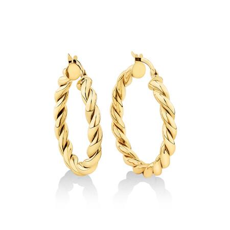 20mm Braid Twist Hoop in 10ct Yellow Gold