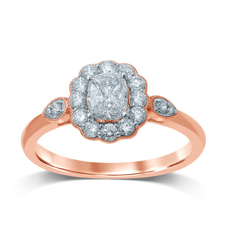 Ring with 0.60 Carat TW of Diamonds in 14ct Rose & White Gold