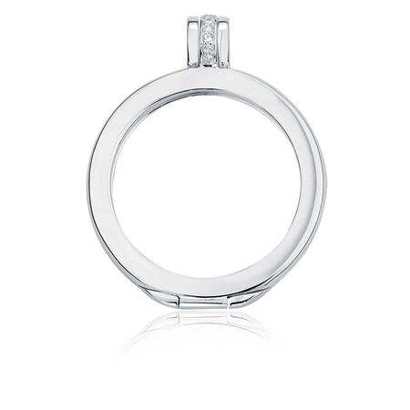 Cubic Zirconia & Sterling Silver Coin Locket Frame