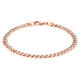 "19cm (7.5"") Hollow Curb Bracelet in 10ct White & Rose Gold"