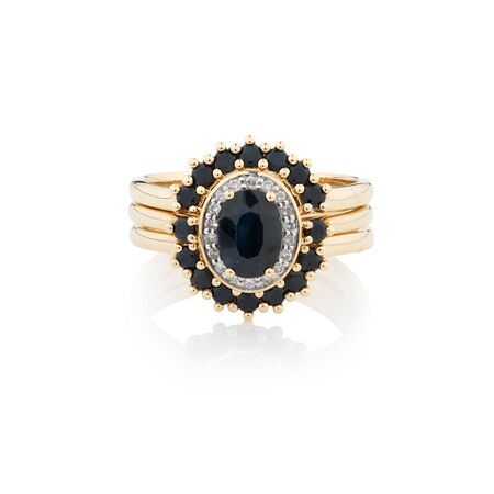 Online Exclusive - Ring with 0.18 Carat TW of Diamonds & Sapphire in 10ct Yellow Gold