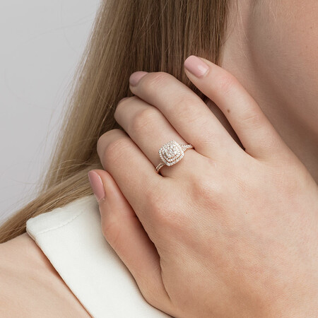 Engagement Ring with 1/2 Carat TW of Diamonds in 10ct Rose Gold
