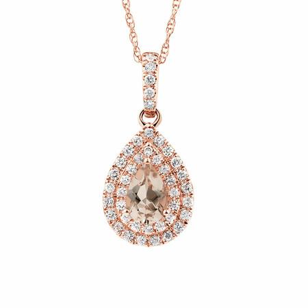 Sir Michael Hill Designer Fashion Pendant with Morganite & 0.20 Carat TW of Diamonds in 10ct Rose Gold