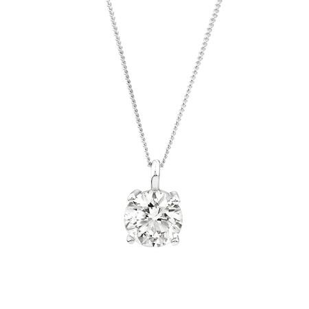 Laboratory-Created 2 Carat Diamond Pendant in 14ct White Gold