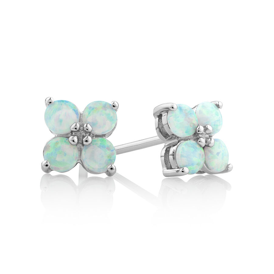 Created Opal Floral Studs in Sterling Silver