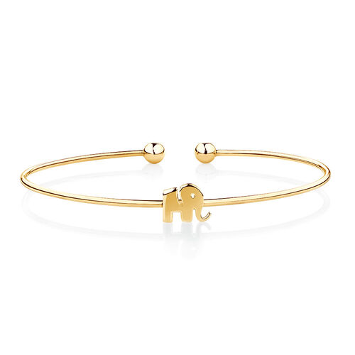 Elephant Cuff in 10ct Yellow Gold