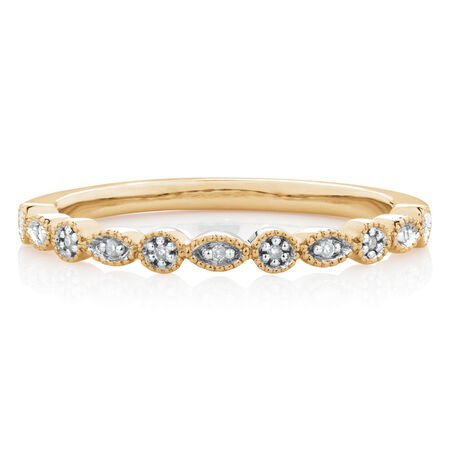 Marquise Stacker Ring with Diamonds in 10ct Yellow Gold