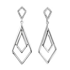 Geometric Drop Earrings withDiamonds in Sterling Silver