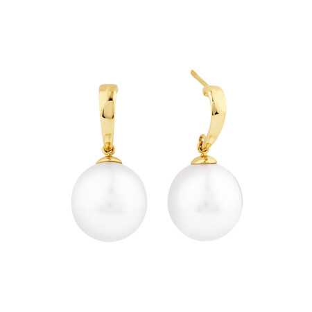 Drop Earrings With South Sea Pearl In 14ct Yellow Gold