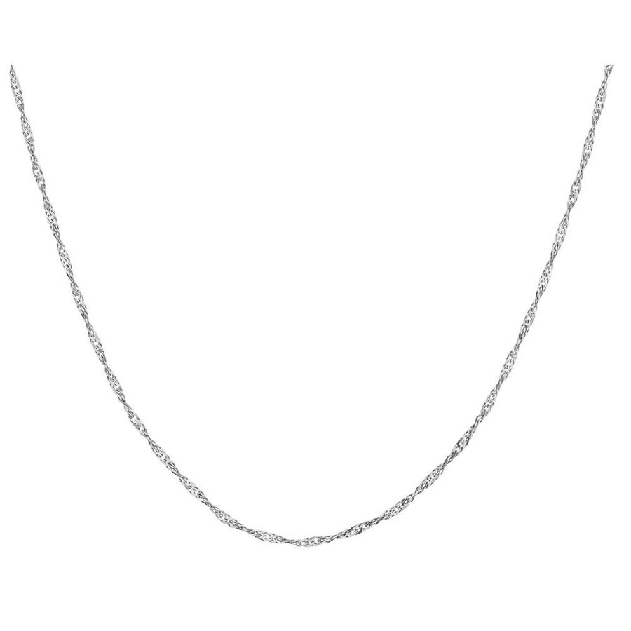 "55cm (21.5"") Hollow Singapore Chain in 10ct White Gold"