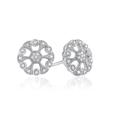 Art Déco Circle Stud Earrings With Diamonds In Sterling Silver