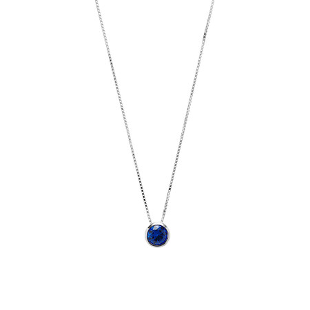 Circle Pendant with Dark Blue Cubic Zirconia in Sterling Silver