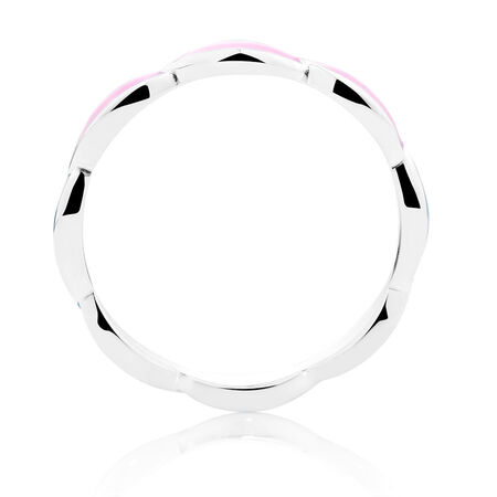 Sterling Silver & Pale Pink Enamel Stack Ring