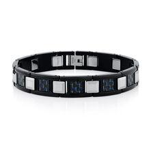 Men's Bracelet in Carbon Fibre, Tungsten & Stainless Steel