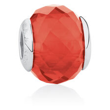 Online Exclusive - Smokey Red Faceted Glass Charm in Sterling Silver