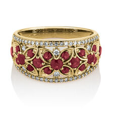 Ring with Ruby & 0.25 Carat TW of Diamonds in 10ct Yellow Gold