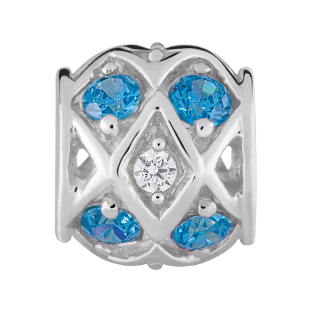 Blue & White Cubic Zirconia & Sterling Silver Charm