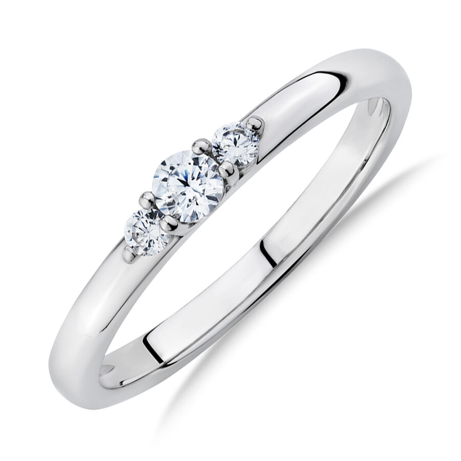 Three Stone Ring with Cubic Zirconia in Sterling Silver