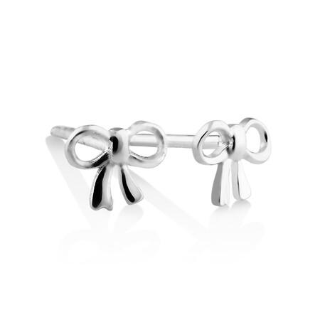 Bow Stud Earrings In Sterling Silver