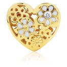 Diamond Set Daisy Heart Charm with Enamel in 10ct Yellow Gold