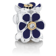 Flower Charm with Blue Enamel & Cubic Zirconia in 10ct Yellow Gold & Sterling Silver