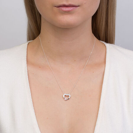 Pendant with Pink & White Cubic Zirconias in Sterling Silver