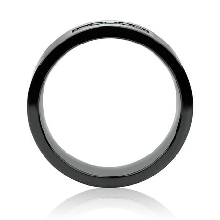 6mm Ring with Black Diamonds in Black Titanium