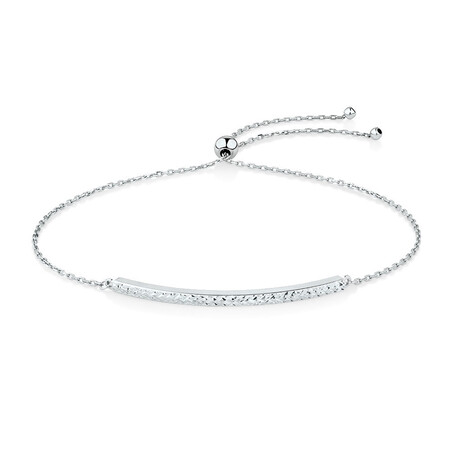 Adjustable Bar Bracelet in 10ct White Gold