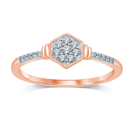Cluster Ring with 0.12 Carat TW of Diamonds in 10ct Rose Gold