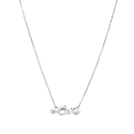 Love Necklace with Diamonds in Sterling Silver